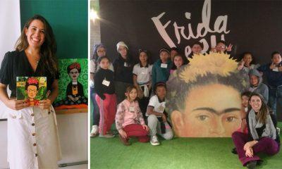 professora com alunos em mostra da frida kahlo