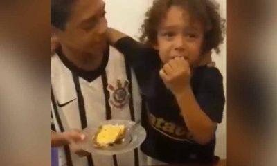menino se emociona quando irmão diz que o primeiro pedaço do bolo é dele