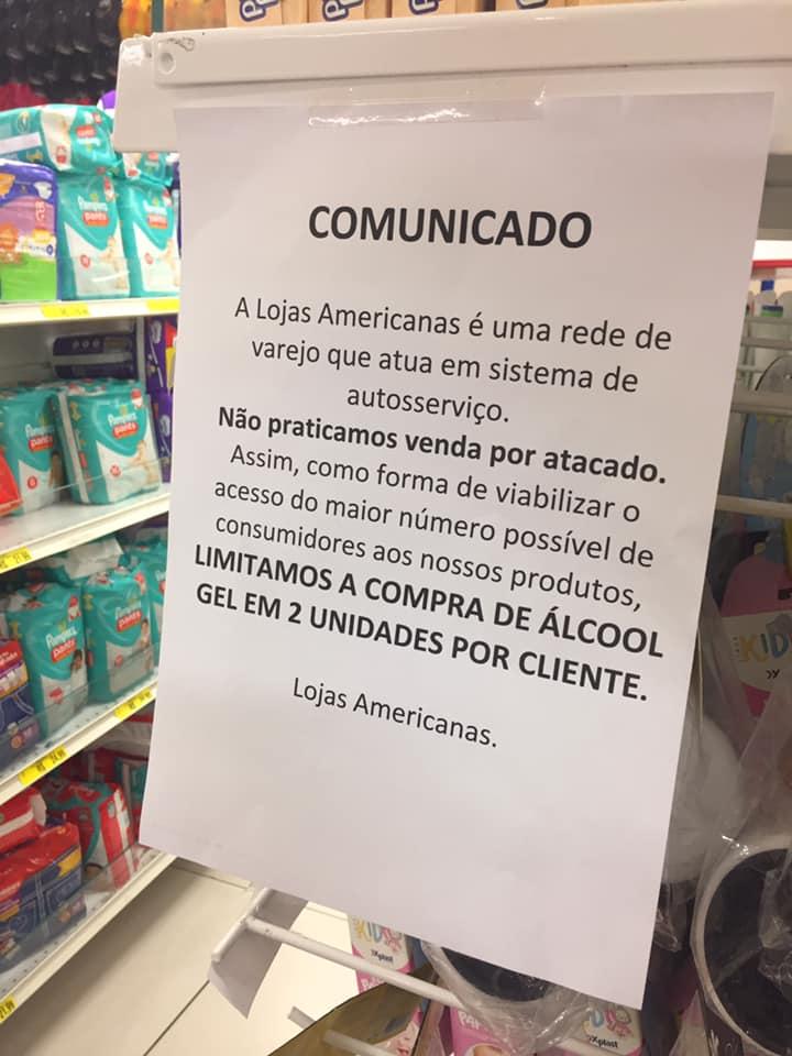 Comunicado em loja