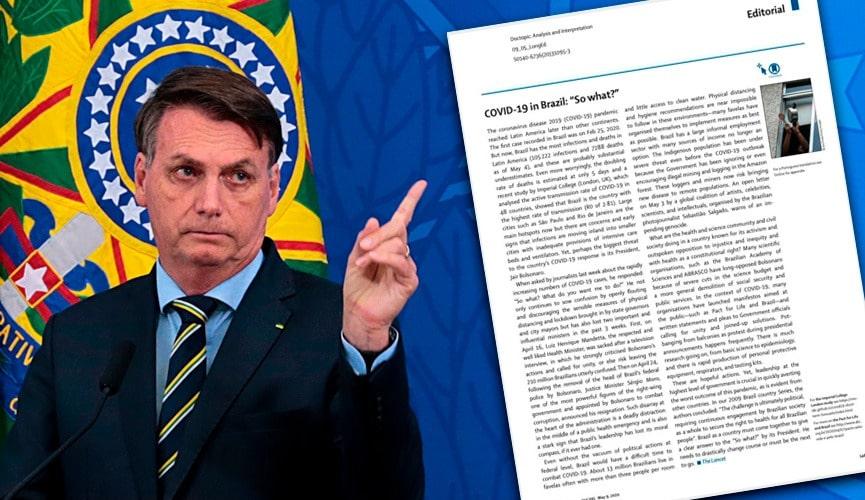 Jair Bolsonaro, à esquerda; foto de página de revista, à direita