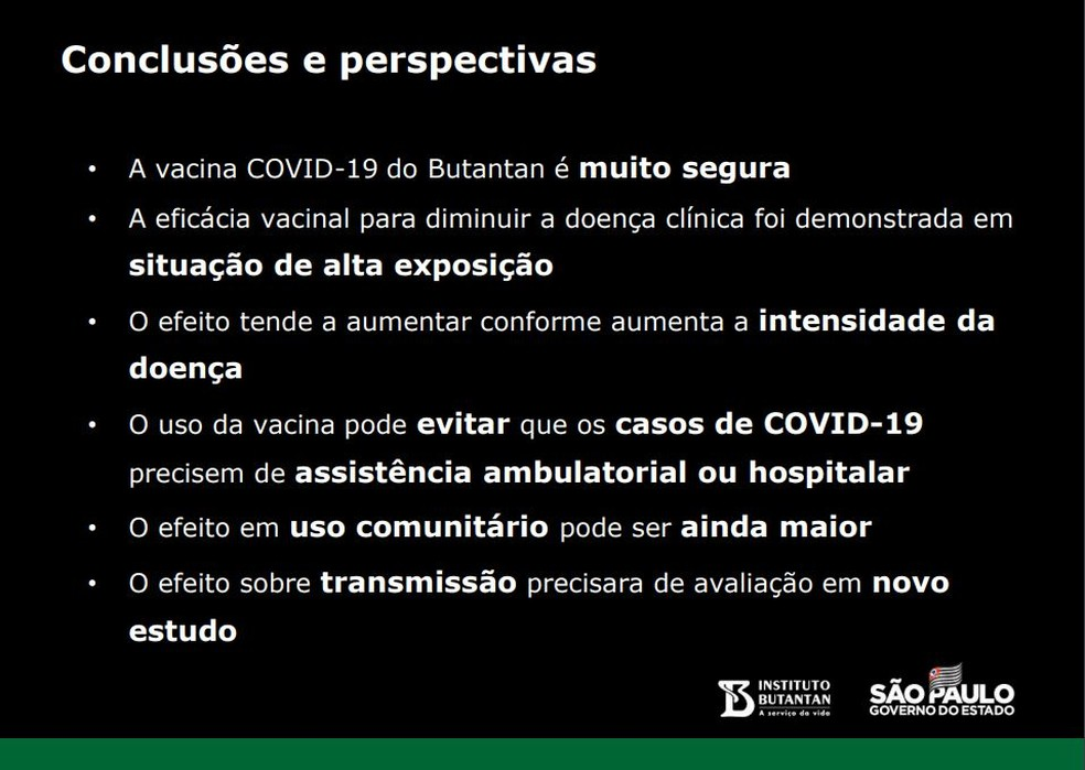 Conclusões do estudo clínico da CoronaVac.