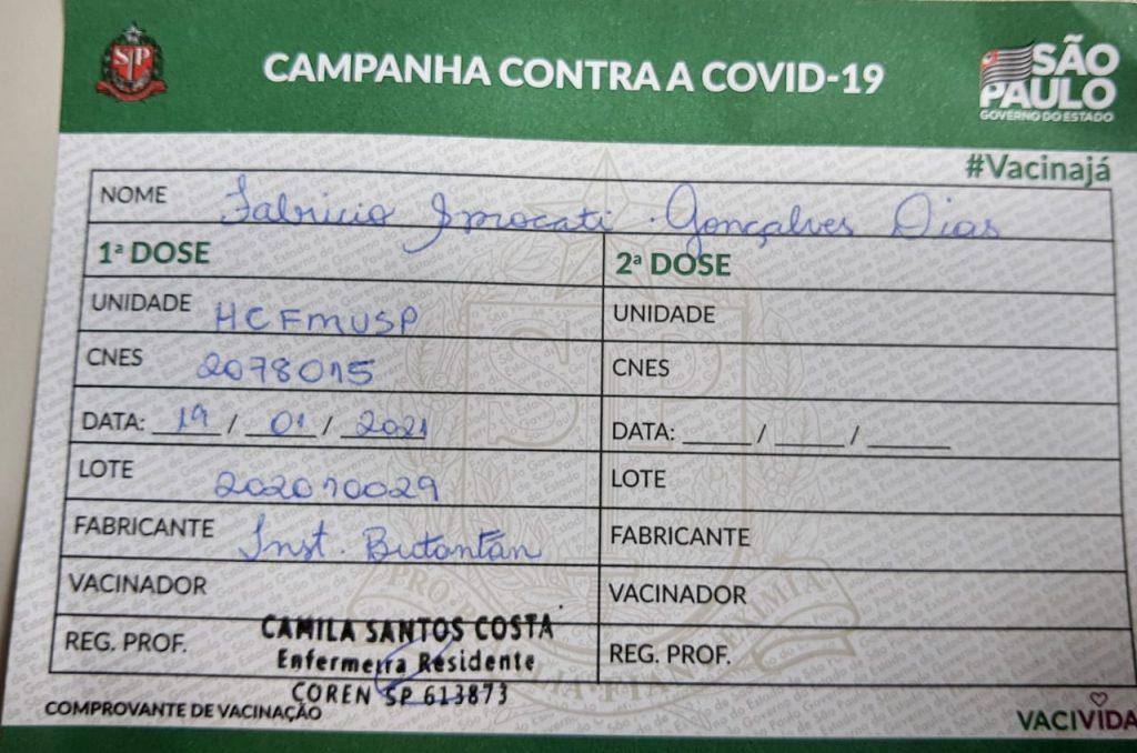 Comprovante de vacinação contra Covid-19