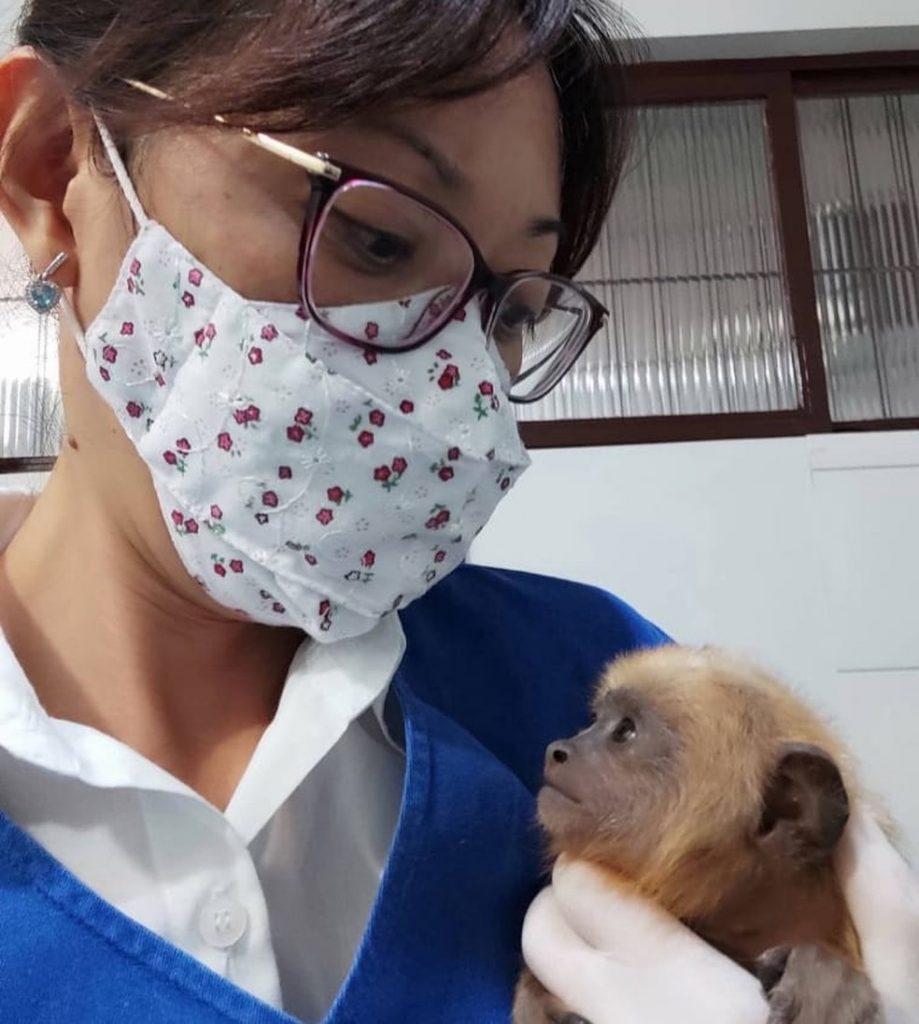 Veterinária Juliana Mori com o filhotinho resgatado